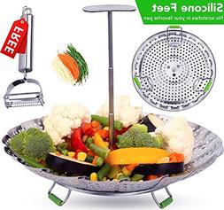 "Vegetable Steamer Basket 5.5-9.3""- Extendable Handle and Fol"