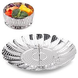 Vegetable Steamer Basket 100% Stainless Steel Folding Collap